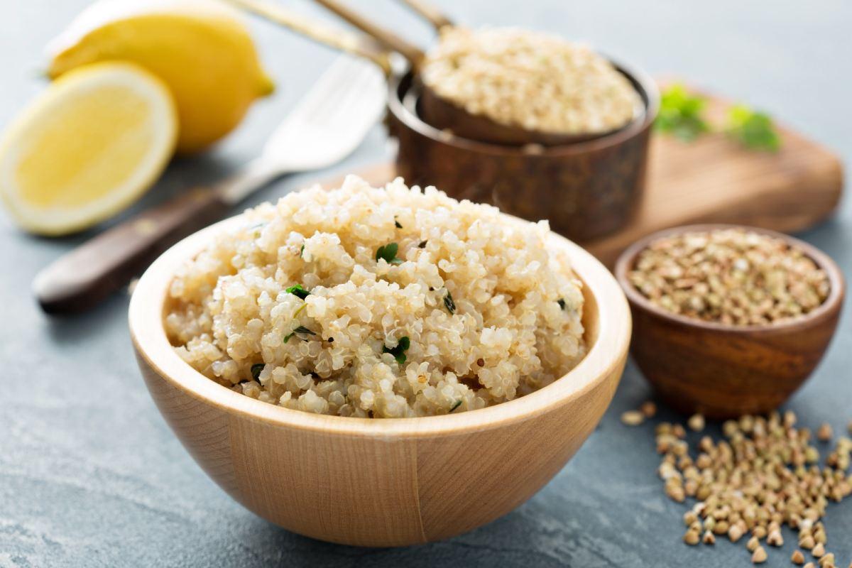 Couscous and quinoa, healthy grains.